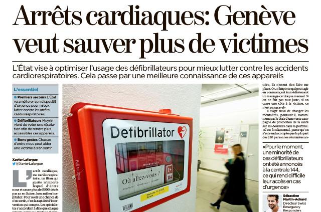 In Genf sind Defibrillatoren AED von Philips Teil der Rettunskette und des First-Responder-Programms wie im Kanton Tessin