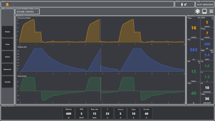 Interface mechanisches Beatmungsgerät des Auszubildenden