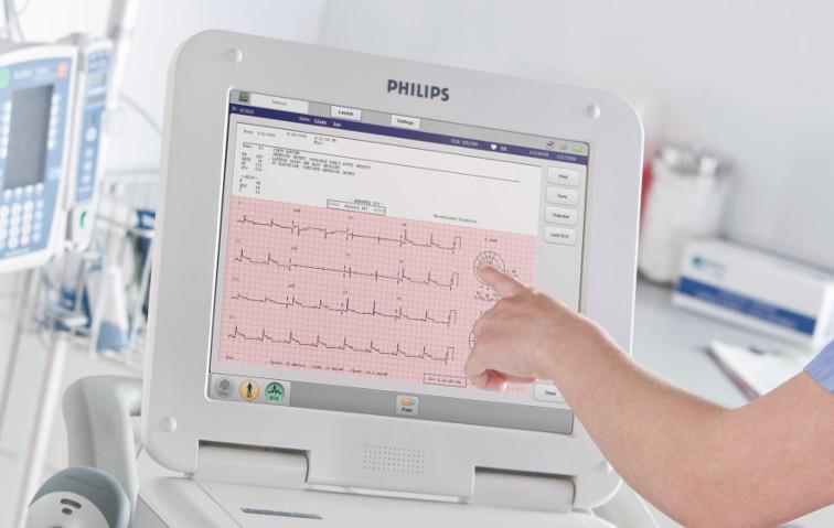 15 Zoll Bildschirm mit Touch EKG Schreiber von Philips vom Schweizer Partner Reavita