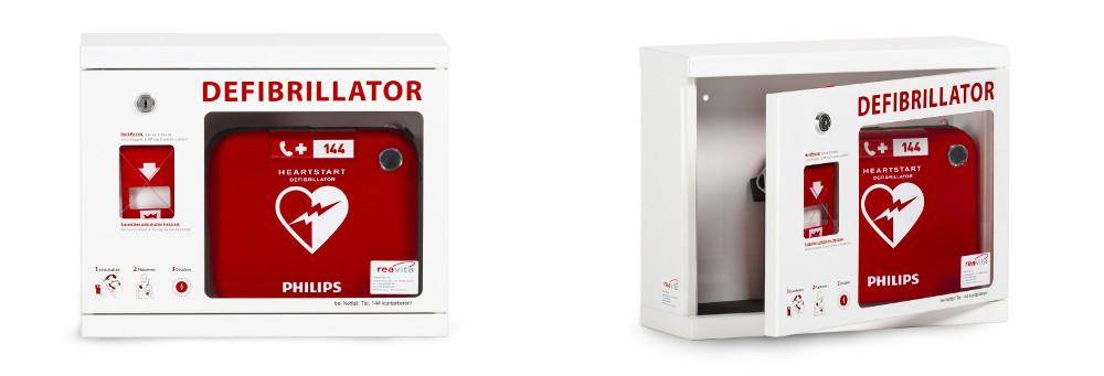 Sicherer Wandkasten für Philips Defibrillator in Kliniken und Spitälern online kaufen